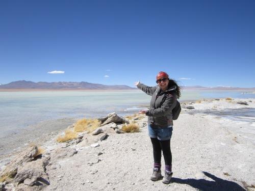 Cenário espetacular, rumo ao Salar do Uyuni. Laguna Blanca, Bolívia.