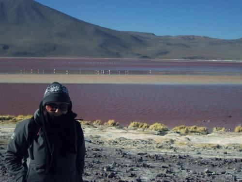 Protegida do vento gelado na Laguna Colorado, Bolívia.